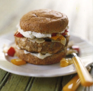 Turkey Burgers with Goat Cheese and Pepper & Onion Relish