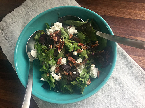 Mixed greens with Dates, Herbed Goat Cheese and Balsamic Vinaigrette