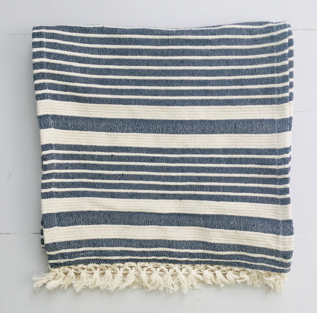 Striped Woven Runner ~ Midnight Blue