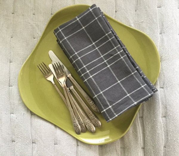 Charcoal Grey and White Linen Napkin