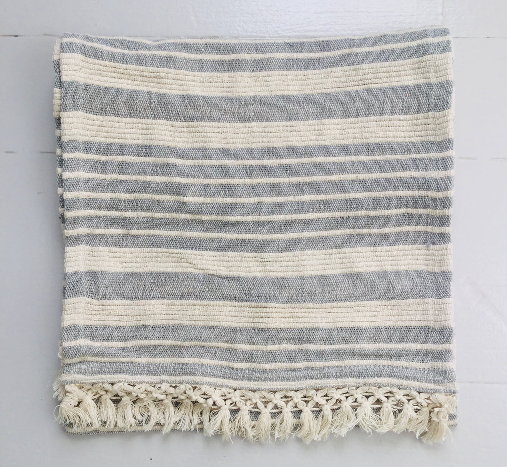 Striped Woven Runner ~ Pale Grey