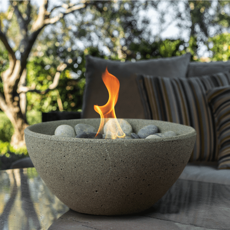 Terra Flame - Basin Fire Bowl Table Top - Pewter
