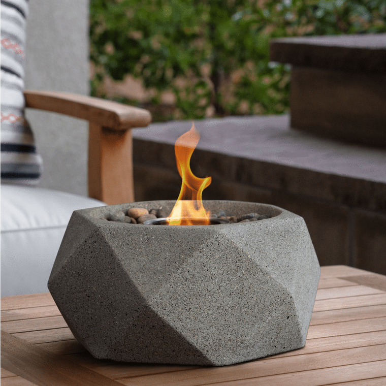 Terra Flame - Geo Fire Bowl Table Top - Pewter