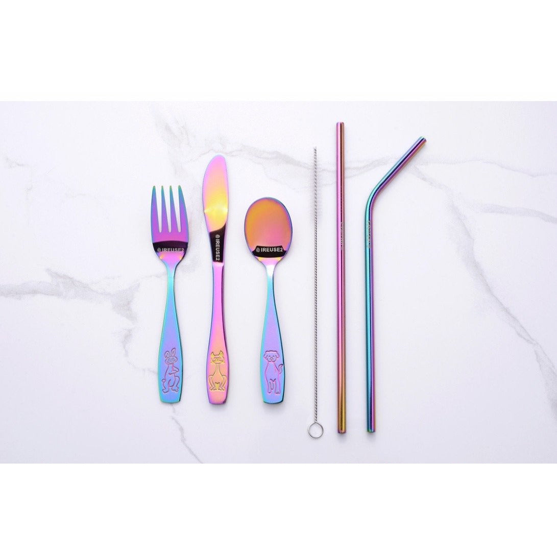 Ireuse2 Cutlery - Kids Unicorn Rainbow