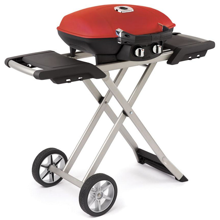 Napoleon TravelQ™ 285 in Red and Scissor Cart with Griddle