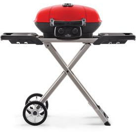 Napoleon TravelQ 285X in Red and Scissor Cart with Griddle