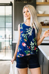 Midnight Blooms Sleeveless Top