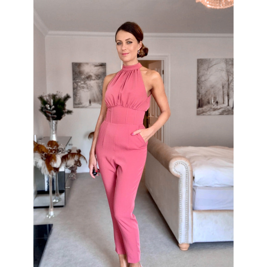 Blush Pink High Neck Fitted Sleeveless Jumpsuit with Pockets