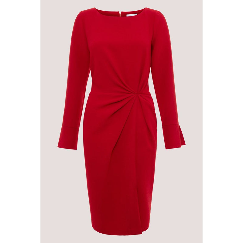 RED PLEATED FRONT PENCIL DRESS