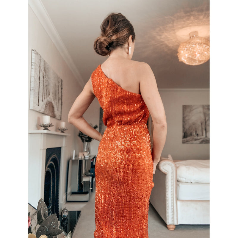 Orange Sequin Midi Dress