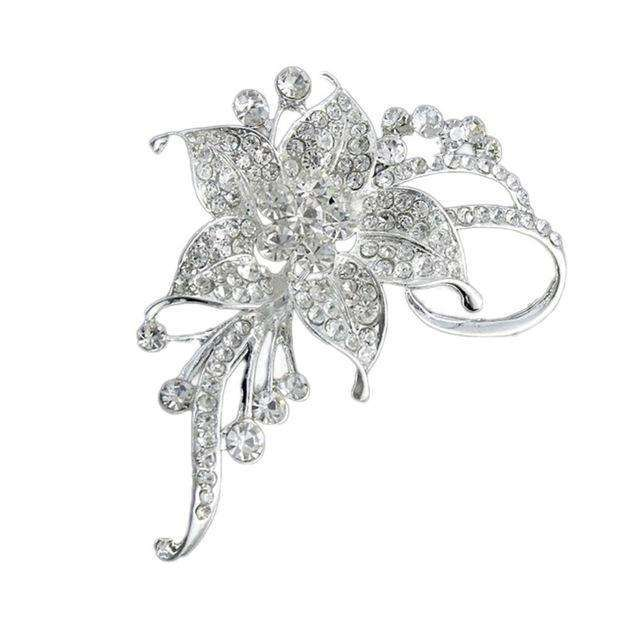 Elegant Jewellery Alloy Rhinestones Inlaid Flower Brooch