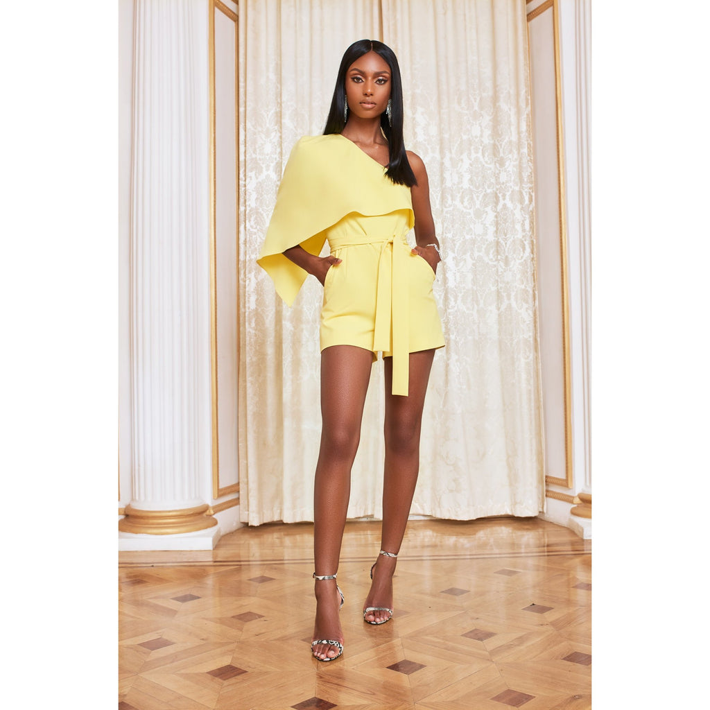 Yellow Cold Shoulder Structured Playsuit