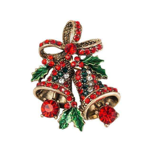 NEW Christmas Enamel Bell Flower Leaf Crystal Rhinestone Brooch