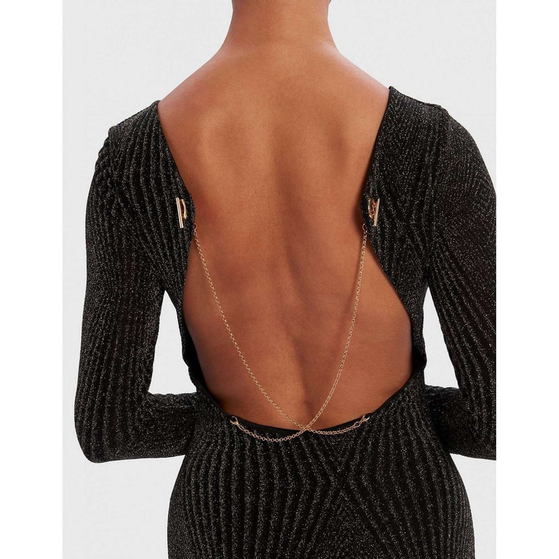 Black And Gold Backless Midi Dress