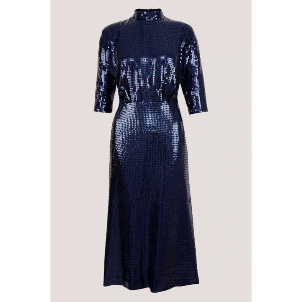BLUE SEQUIN KIMONO SLEEVE DRESS