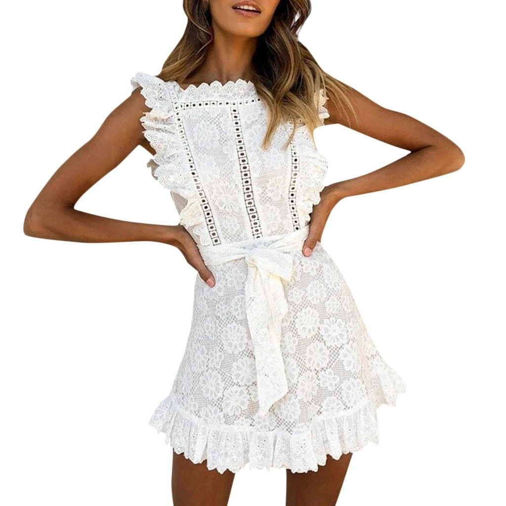White Ruffle Detail Mini Dress
