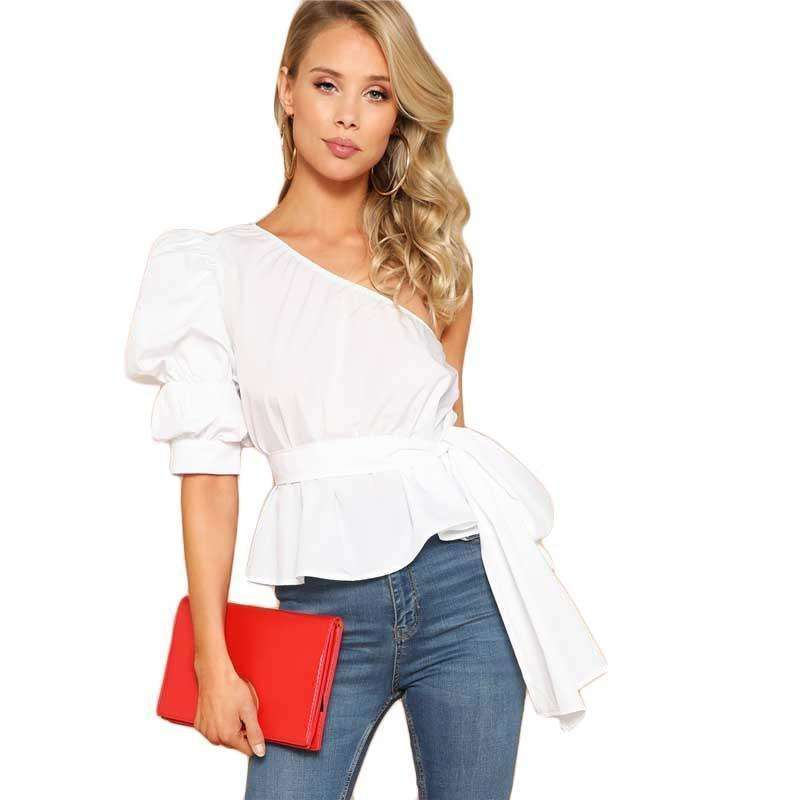 One Shoulder Puff Sleeve Peplum Belted Top Blouse - more colours available