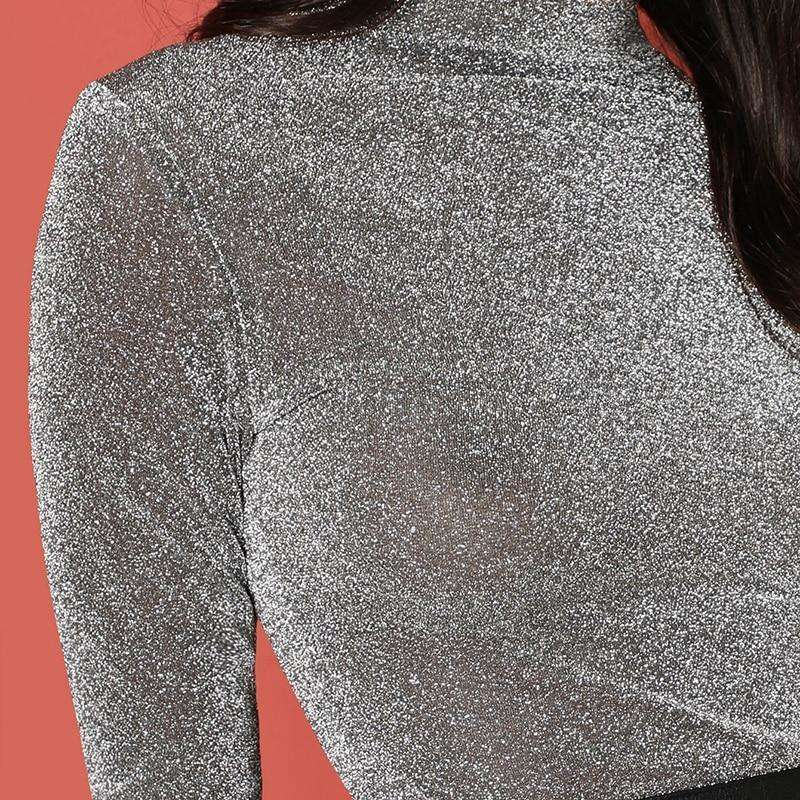 Grey high neck glitter top