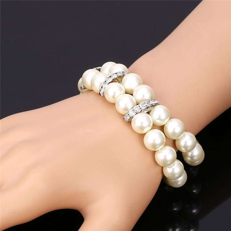 Pearls and Rhinestones Double Layer Bracelet