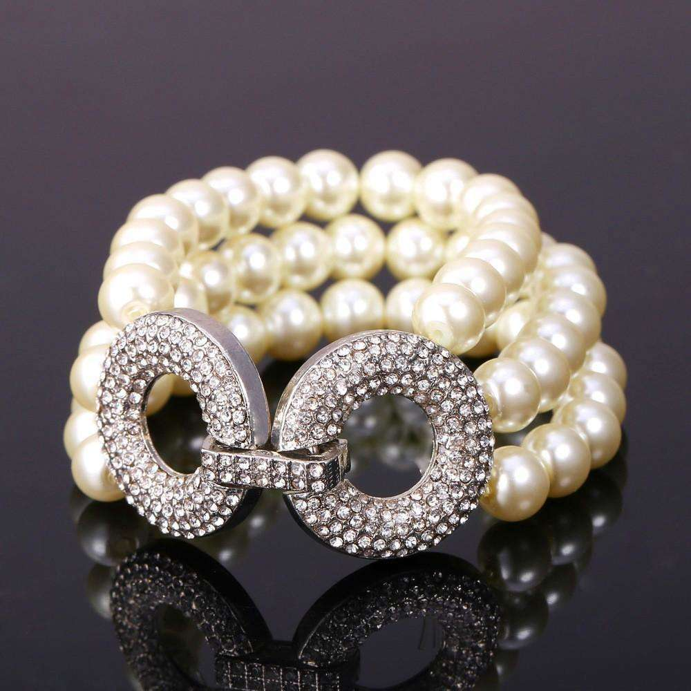 Pearl and Rhinestone Triple Layer Bracelet