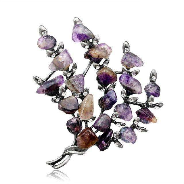 Retro Crystal Tree Shape Brooch