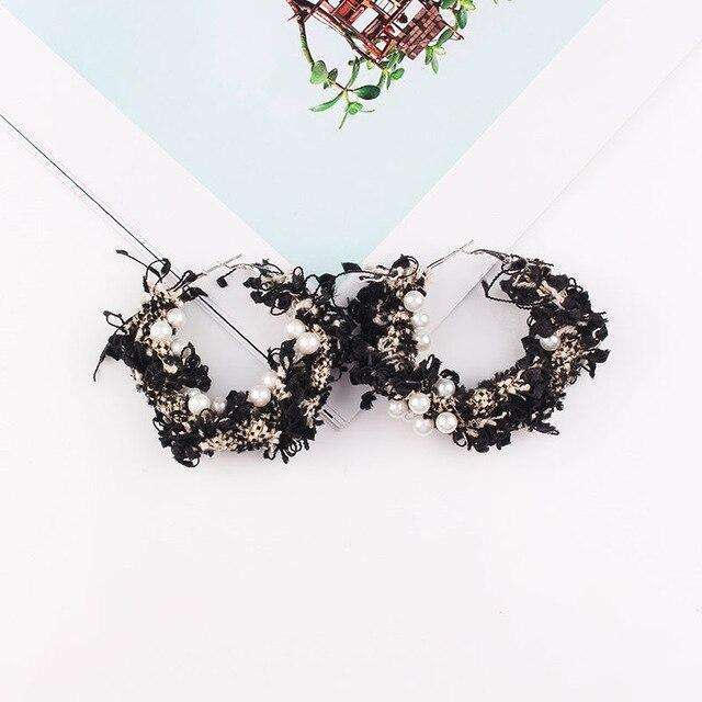 Lace and Pearl Wreath Big Hoop Earrings