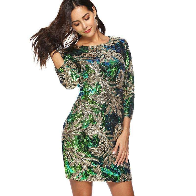 Green and Silver Bodycon Mini Sequined & Glitter Dress