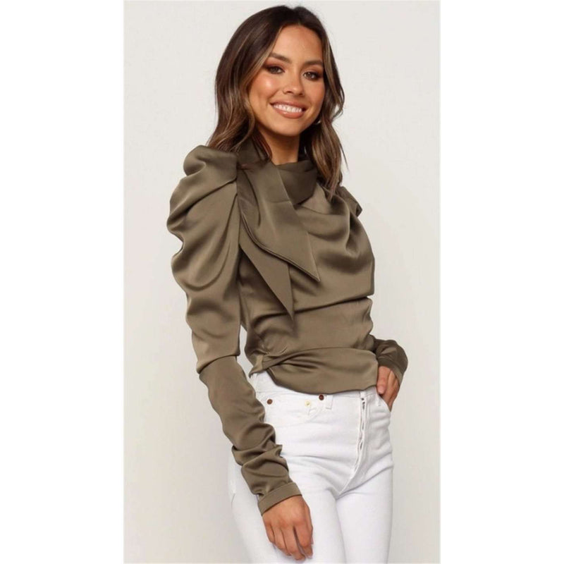 Satin Bow Neck Long Sleeve Elegant Blouse - more colours available