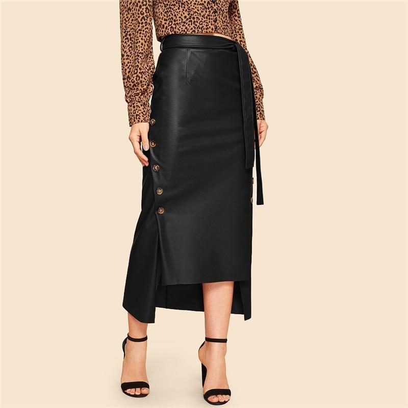 Elegant Split Hem Double Button Belted PU Leather Skirt - more colours available