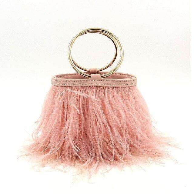 Feather Bucket Style Clutch - more colours available