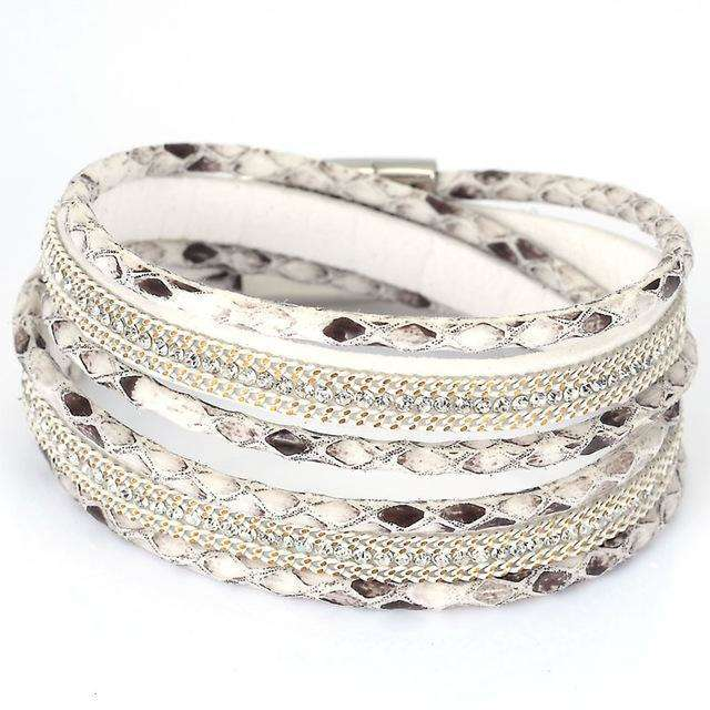 Double Wrap Rhinestones Snake Print Bracelet - more styles available