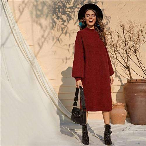 Burgundy Casual Tunic Sweater Dress