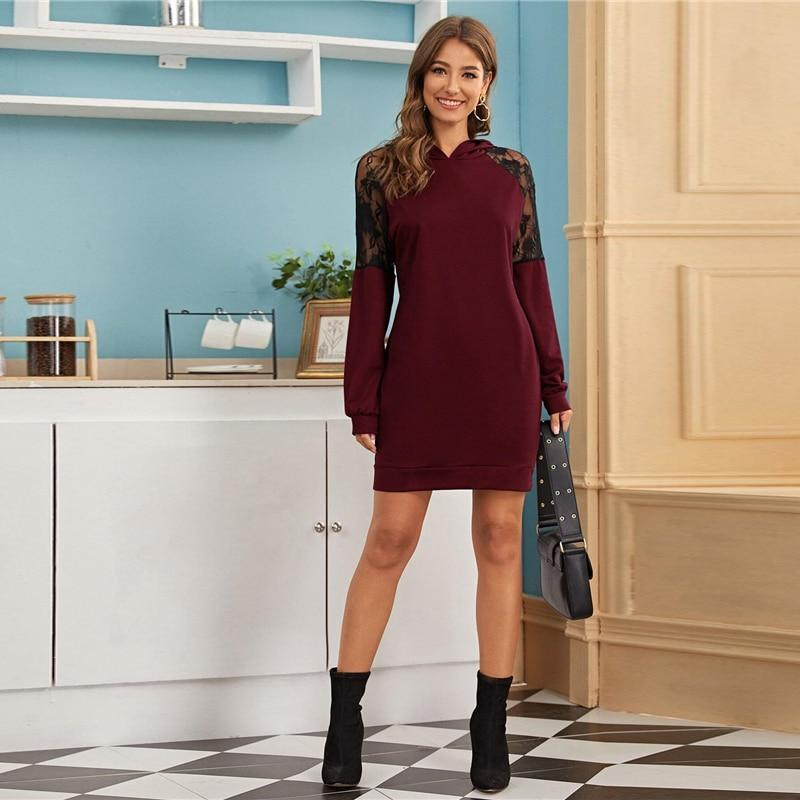 Lace Inserts Casual Hooded Mini Dress