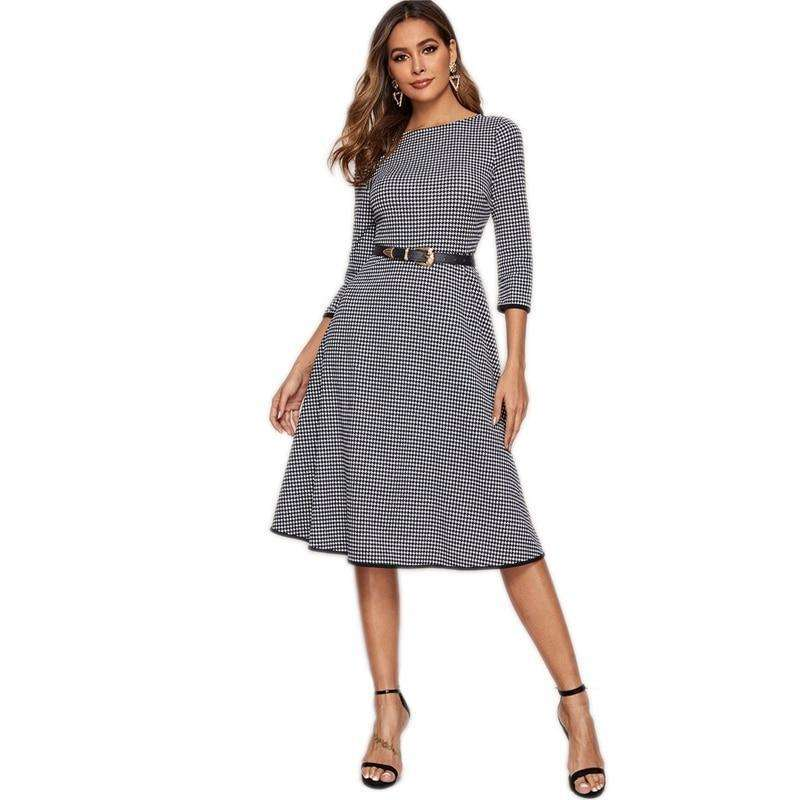 Black And White Houndstooth Elegant 3/4 Length Sleeve Midi Dress