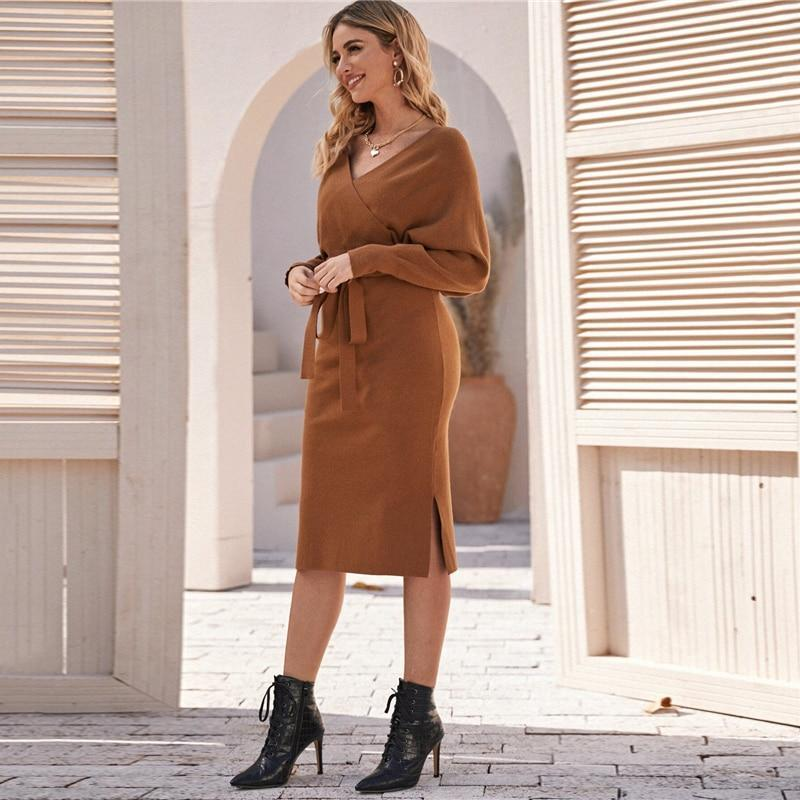 Brown V Neck Cut Out Back Sweater Midi Dress With Belt