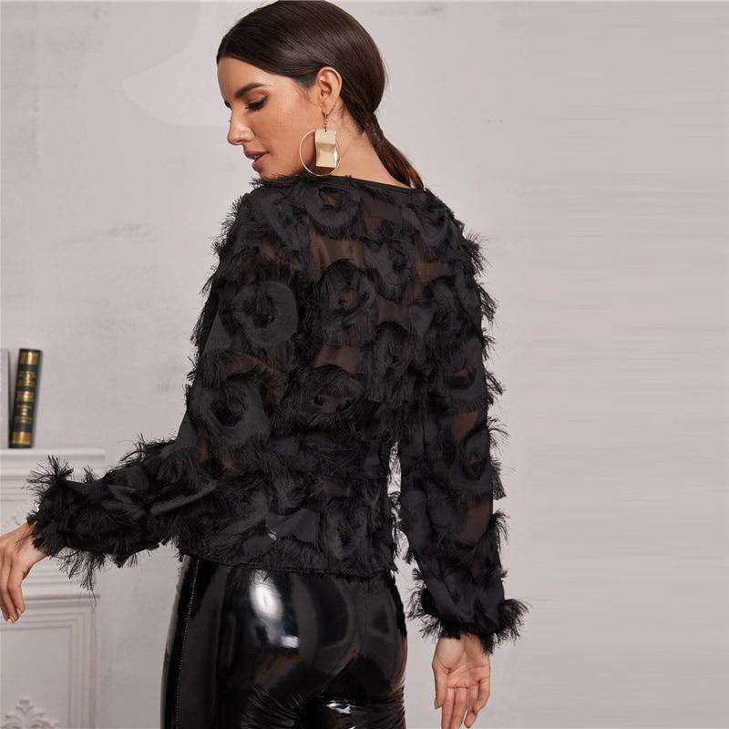 Black Round Neck Sheer Elegant Blouse With Belt