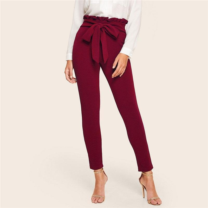 Elegant Frill Trim Bow Belted High Waist Pants - more colours available