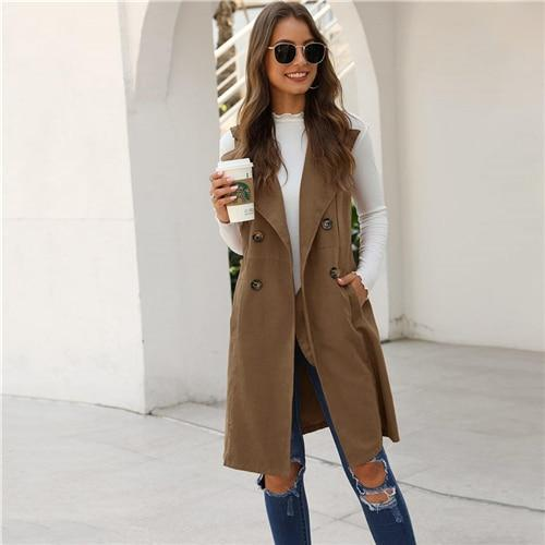Double-breasted Waterfall Collar Sleeveless Coats - more colours available