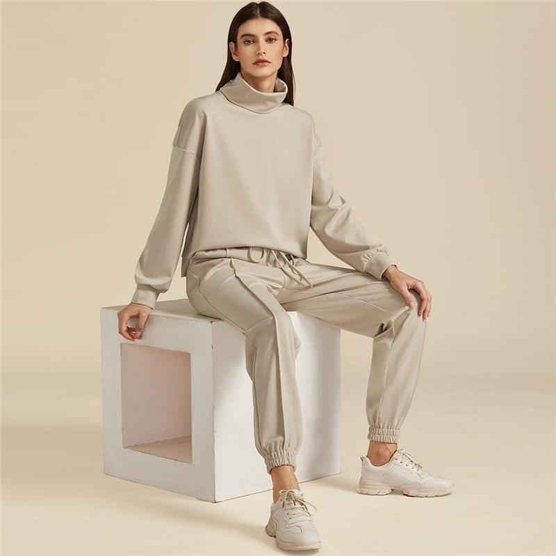 High Neck Sweatshirt And Drawstring Waist Set