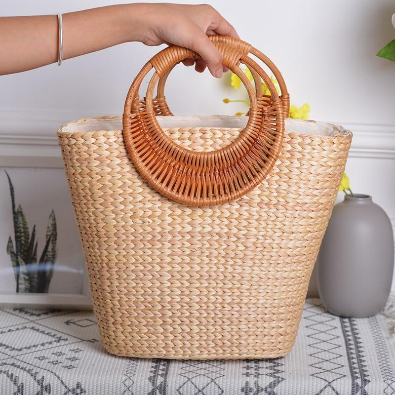 Straw Tote Summer Beach Bag