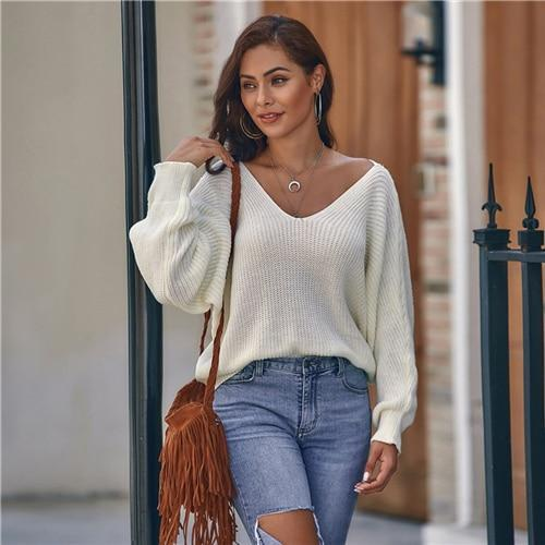 White V-neck Criss Cross Back Sweater Pullover
