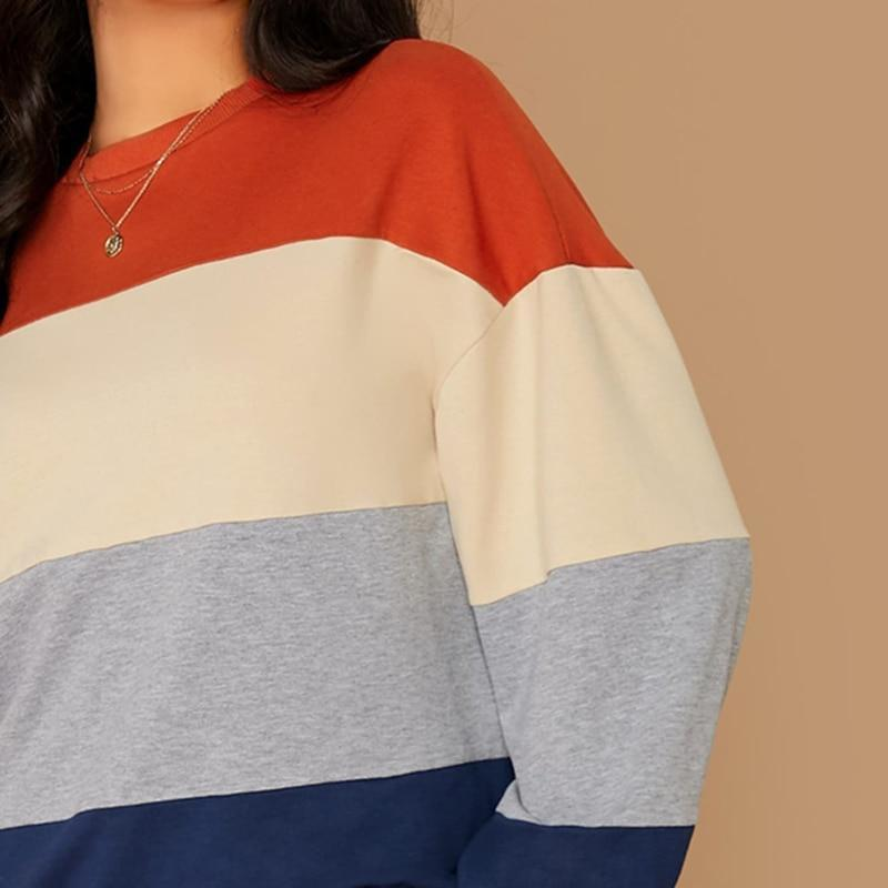 Colorblock Striped Casual  Sweater