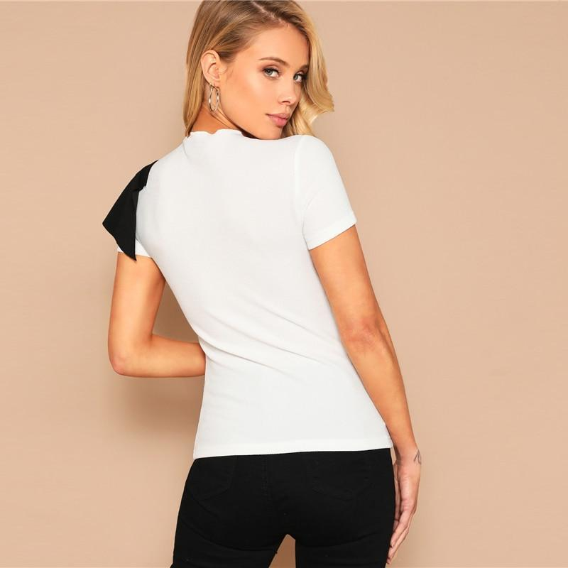 Mock Neck Flounce Trim Two Tone Top - more colours available