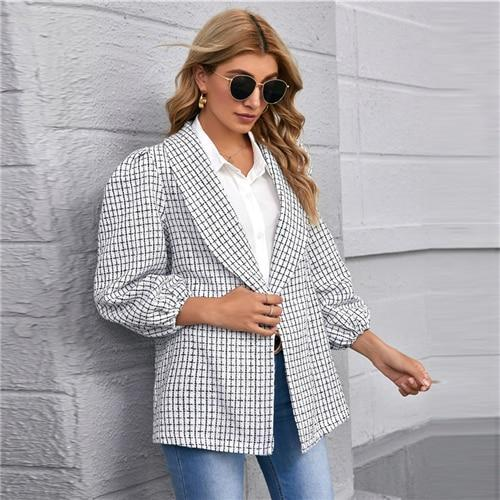 Shawl Neck Lantern Sleeve Plaid Tweed Coat