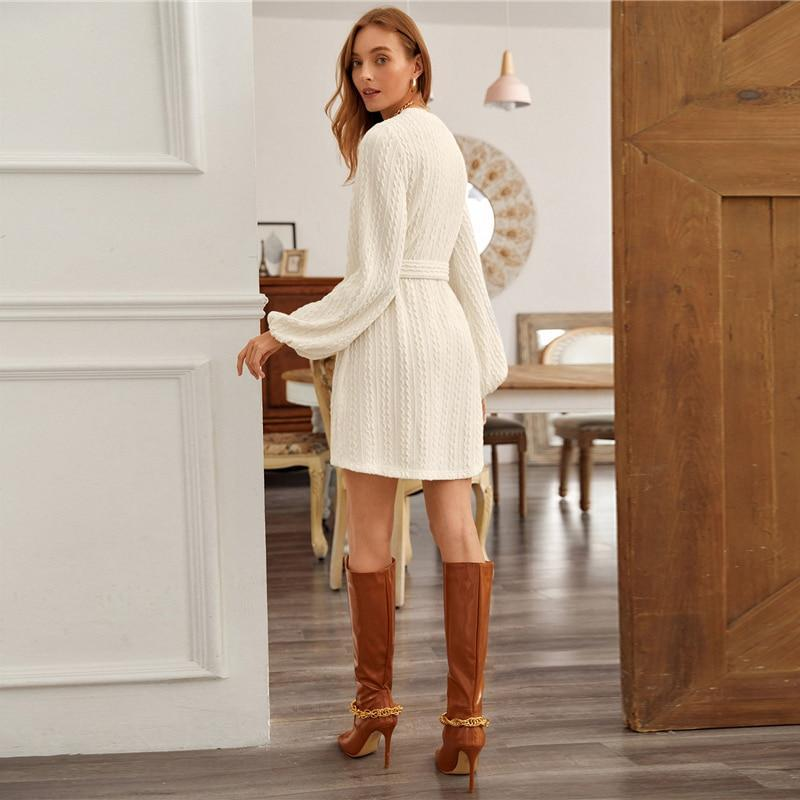 Bishop Sleeve Cable Knit Belted Dress - more colours available