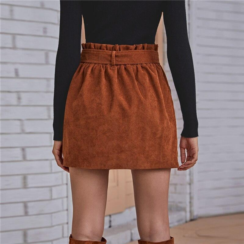 Paperbag Waist Buttoned Front Corduroy Mini Skirt - more colours available
