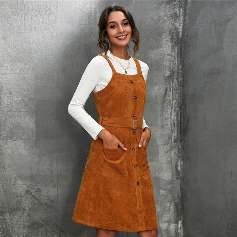Corduroy Belted Pinafore Midi Dress - more colours available