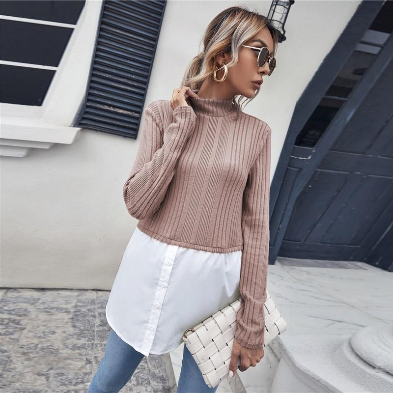Rib-Knit Colour block 2 In 1 Casual Shirt and Sweater