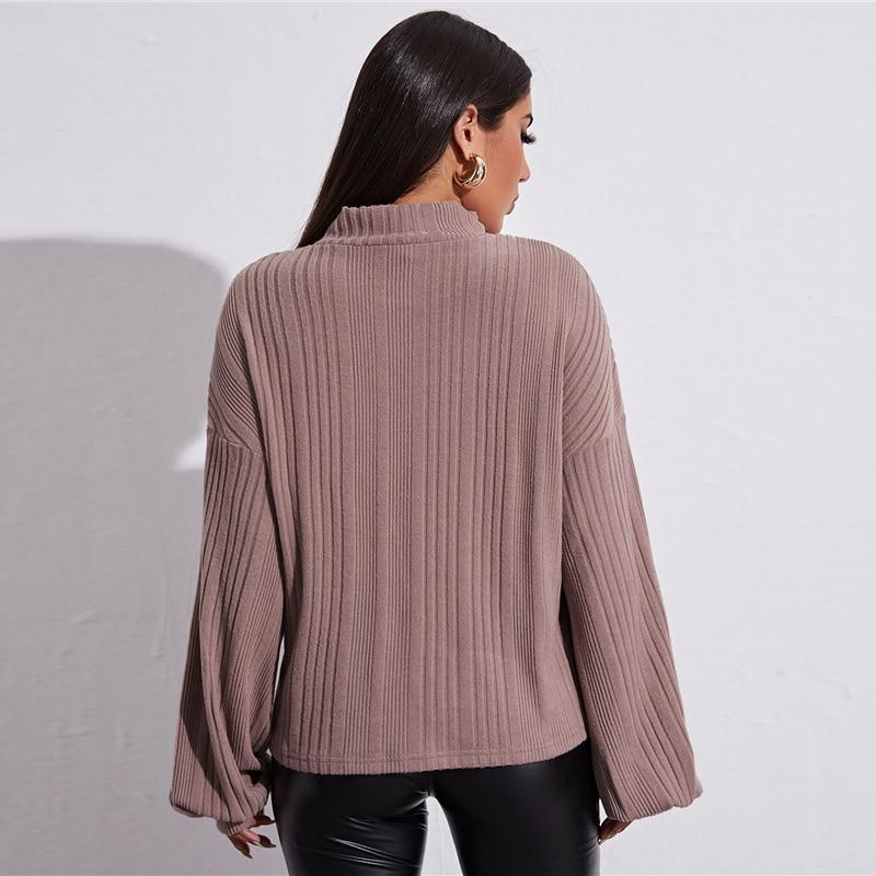 Funnel Neck Lantern Sleeve Rib-knit Sweater - more colours available