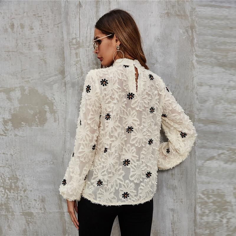 Flower Embroidery Long Sleeve Stand Collar Elegant Top - more colours available